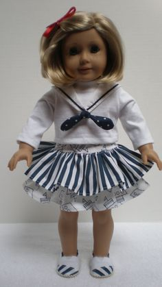 RUFFLED SKIRT (Navy Blue & White) American Girl 18 inch doll. $11.00, via Etsy.