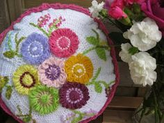 Crochet and Flower Loom Cushion.