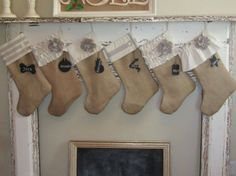 Burlap Stocking Christmas Holiday Decor Natural by sweetcitrushome