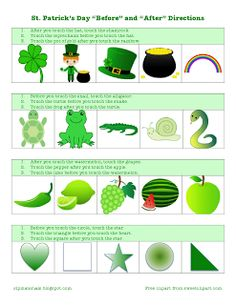 Ms. Lane's SLP Materials: Receptive Language-St. Patrick's Day Theme Following Temporal Directions. Pinned by SOS Inc. Resources. Follow all our boards at pinterest.com/sostherapy for therapy resources.