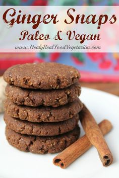 Ginger Snap Cookies (Paleo, Vegan) @ Healy Real Food Vegetarian www.healyrealfood... #gingersnaps #cookies #realfood #paleo #vegan