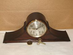SETH THOMAS TAMBOUR 12 RARE ANTIQUE MANTEL CLOCK TIME & STRIKE 7 JEWELS #antiquebracketclocks
