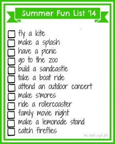 free printable summer bucket list/ summer fun list