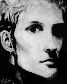 """Layne Staley"" from Alice in Chains. I painted this in black and white acrylic. Prints available."