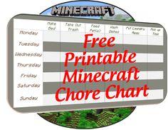 Free Printable Minecraft Chore Chart