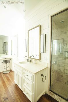 Traditional Bathroom | Tumbled Travertine | Wood Walls | The Lettered Cottage