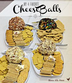 4 Favorite Cheese Balls Bacon Cheddar Ranch Cheese Ball Monster Cookie Dough Dip Pineapple Cheese Ball Beef and Onion Cheese Ball