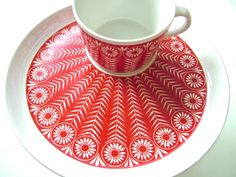 vintage ARABIA Finland RIIKINKUKKO cup with plate