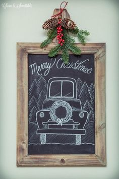 I love all of these beautiful Christmas chalkboards! I need to try one!