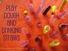Play dough and drinking straws