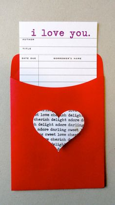I love the printed heart on the pocket. I Love You: Library Card