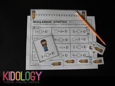 Missing Addends Math Activity - This set makes a great math center or partner pair activity.  The pack includes everything your kids will need to work on addition and decomposing numbers.  Materials include, task cards, number lines, counters, and recording sheets.  Laminate the materials and you can use it as a dry erase center.