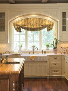 kitchen window treatments, arch, traditional kitchens, kitchen windows, window design, sink, roman shades, kitchen designs, curtain
