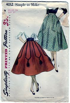 Vintage 1952 Simplicity 4012 Sewing Pattern Misses' Skirt and Cummerbund Size 24. $10.00, via Etsy.    OMG.  Look. AT. THOSE. POCKETS!  You could carry around a small child in those pockets.  Love it.