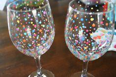 DIY Hand Painted Wine Glasses - For Joy's Birthday