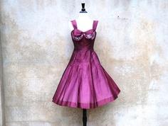 Burgandy raw silk dress 1950