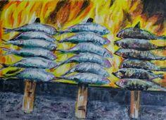 Espetos de sardinas. Acrílico sobre papel, 39 x 28 cm. Autor Antonio Romero Santana