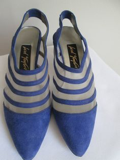 Size 8 Shoes  NOS Blue Ladies Slingback Heel  by MenagerieMall, $38.00