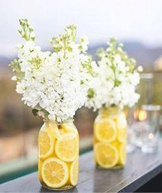 yellow weddings, white flowers, wedding colors, wedding cakes, shower, mason jars, summer weddings, wedding centerpieces, lemon