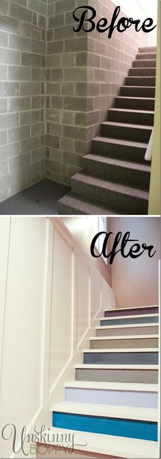 Update an ugly set of basement stairs by painting each riser a different color and adding board and batten. http://unskinnyboppy.com/2013/03/painted-basement-steps-with-board-and-batten/