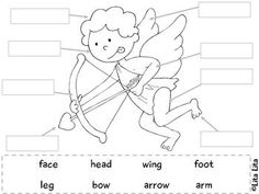 10 Label Valentine Kids worksheets + valentine cards for the writing center english-spanish