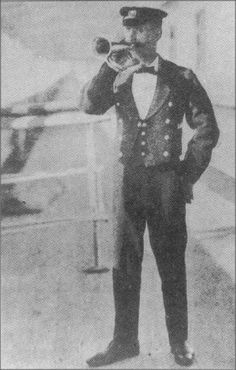 The Titanic Bugler On board the RMS Titanic was P.W. Fletcher of Southampton. He would announce meals and any events that were happening on the ship.  Fletcher, 26, was born in London. He had transferred from the Olympic, Titanic's sister ship and initially signed-on to the Titanic After arrival at Southampton on 4 April he signed on again. He was paid the same as steward but actually worked as the ship's Bugler.  His body if recovered, was never identified.