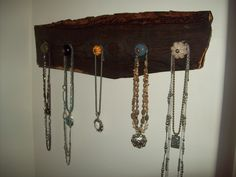 Necklace hanger made with barnwood (oiled) and drawer knobs (from Hobby Lobby of course)