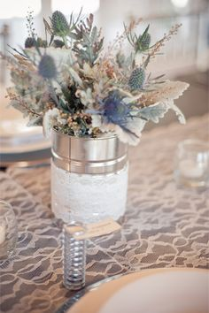 Gray and purple centerpiece with thistles | Jillian Rose Photography | http://burnettsboards.com/2013/11/love-love/