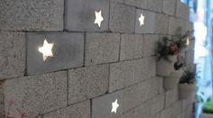 star lights integrated into concrete bricks