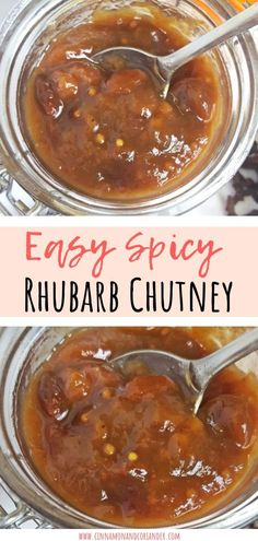 This easy Spicy Rhubarb Chutney is flavored with Indian spices and raisins - my favorite savory rhubarb recipe! It's perfect for BBQs, with pork chops and makes a great food gift! Vegan, too! #preserves #veganrecipes