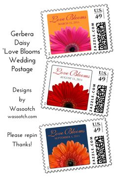 """Simple gerbera daisy flower wedding date Love Blooms US postage stamps. Personalize the date & the """"Love Blooms"""" text if you want. Click to view them here: http://www.zazzle.com/wasootch/gerbera%20wedding%20postage?qs=gerbera%20wedding%20postage&dp=252079753551460346&GroupProducts=False&pg=1&sd=desc&st=date_created?rf=238519505587130819&tc=pinterest  $24.15 per sheet of 20.   Red, pink & orange gerbera daisies. Ask us for other color choices.   #weddingpostage #weddingstamps #weddings"""