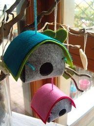 DIY easter  felt ornaments birdhouses