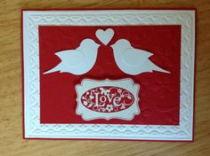 Stampin Up valentine's day card - red and white birds.  via Etsy.