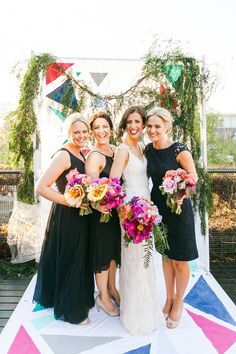 bride and bridesmaids, photo by Kate Robinson Photography http://ruffledblog.com/whimsical-australian-wedding-with-bright-colors #bridesmaiddresses #weddingideas