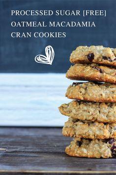 Processed sugar-free Oatmeal Macadamia Cranberry Cookies