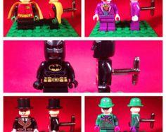 Complete Set of 5 Batman Lego Cufflinks  - Batman, Robin, Joker, Penguin, Riddler - Handmade - Perfect for your Wedding Party