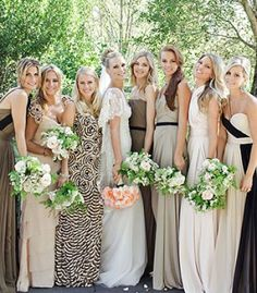 Mismatched Bridesmaid Dresses photo. I do not mind this as much as that other one you found, but, if I were to do this I would make a rule that they all had to pick plain colors. WHY would you wear a patterned dress if you know you are a bridesmaid, not the bride...? Also, her friends are exceptionally tall and thin
