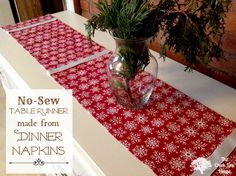 DIY No Sew Table Runner made from Dinner Napkins at The Creek Line House.