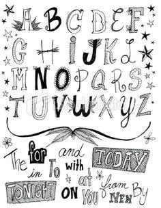 random alphabet and word doodle Royalty Free Stock Vector Art Illustration