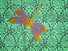 Dragonfly Quilt cover - Block printed on Cotton. $350.00, via Etsy.