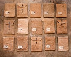 fabric envelopes.