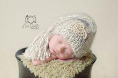 Knitted Newborn Tassel Sleep Cap