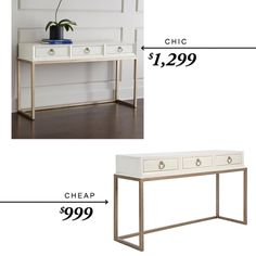 Horchow Daisy Console $1,299  -vs-  Z Gallerie Hayden Console Table $999 #chicvscheap #lookforless