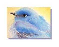 ACEO Original Bluebird Watercolor Painting
