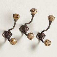 Small Carved Bone Double Hooks, Set of 3 | World Market