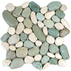Glazed Green and White Pebble Tile  at StrataStones