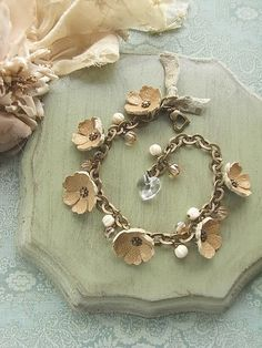 leather flowers and beaded bracelet