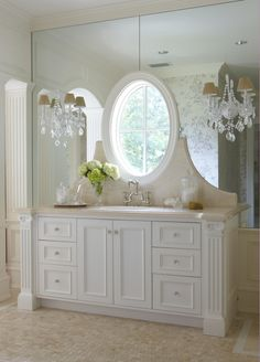 This bathroom cleverly incorporated a window into the vanity, letting in the light