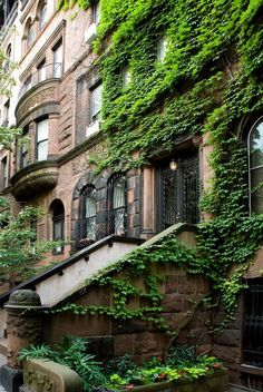 Brownstone - ivy covered - iron doors - beautiful architecture.