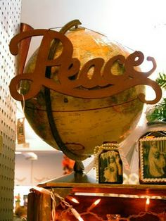 This 'peace on earth' globe would be good any time of year, but especially nice to dress it up further for Christmas